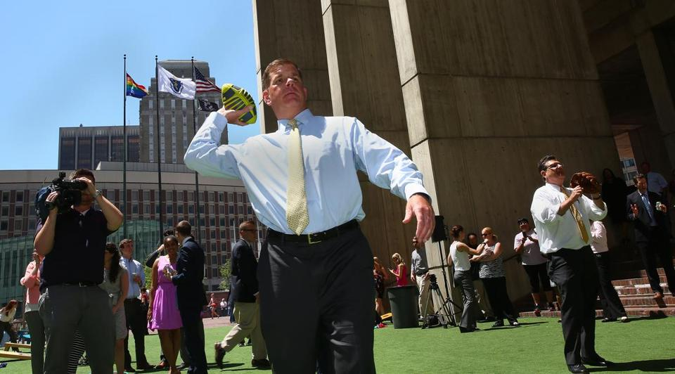 Mayor Martin Walsh at the second annual City Hall Plaza party on Boston's Front Lawn  in June 2016.