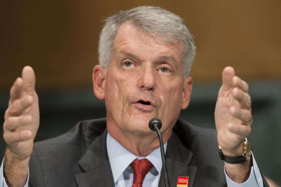 Wells Fargo CEO Tim Sloan testified before the Senate Banking, Housing and Urban Affairs Committee Tuesday.