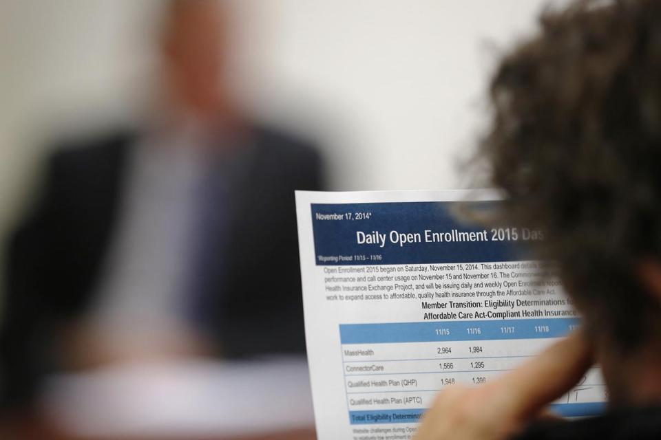 A reporter read a summary of the performance and usage over the first two days of open enrollment of the Massachusetts Health Connector website.