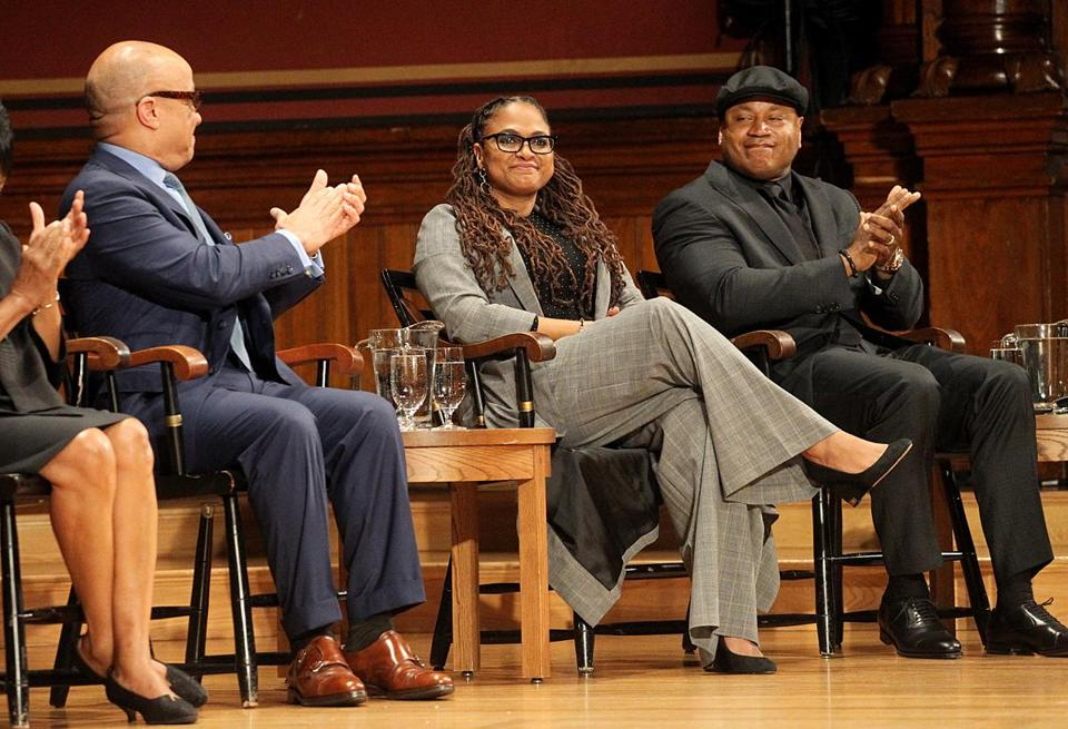 Donna Brazile (above) joined (from left) Darren Walker, Ava DuVernay, and LL Cool J on stage at Harvard's Sanders Theatre Wednesday evening.