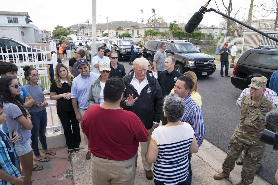 President Trump and first lady Melania Trump visited with San Juan residents Tuesday.