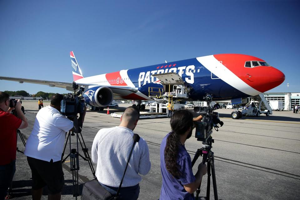 Team owner Robert Kraft lent out the New England Patriots' team plane, shown here in a file photo.