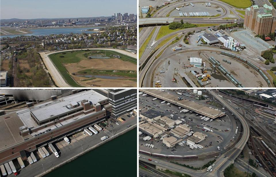 (Top left, clockwise) Suffolk Downs, Beacon Yards, the US Postal Annex and Fort Point Channel, and the Frontage Road area and South Station railroad tracks.
