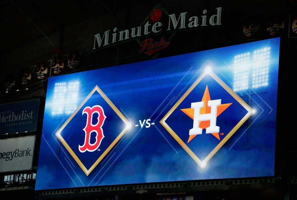 A detail of a video board before game one of the American League Division Series between the Boston Red Sox and the Houston Astros at Minute Maid Park.