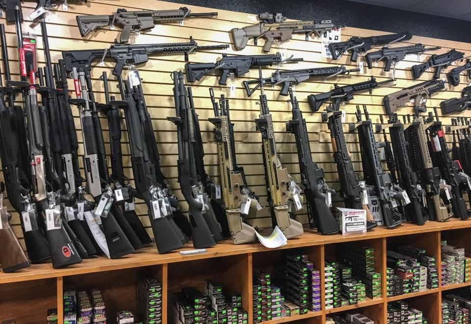 Semi-automatic rifles are seen for sale in a gun shop in Las Vegas.