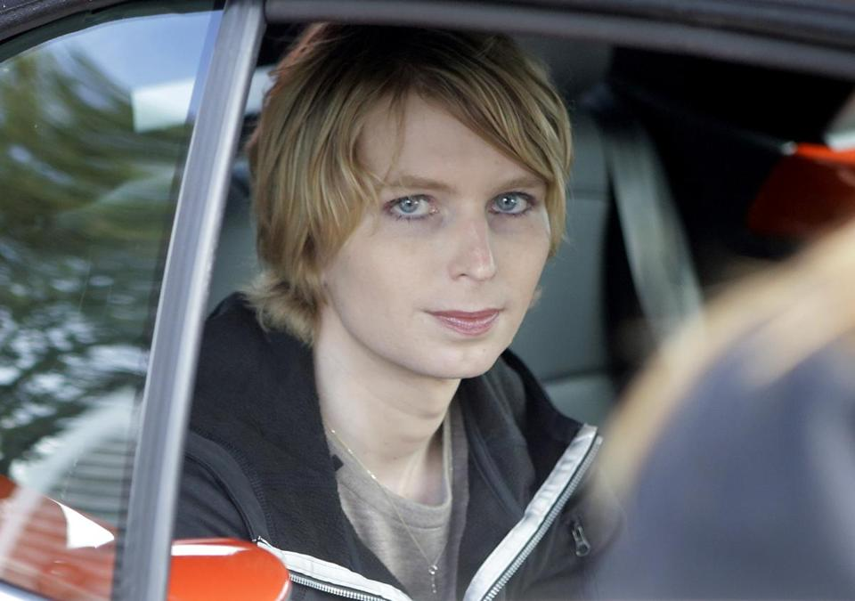 Chelsea Manning is seated in the back seat of a vehicle as she departs The Nantucket Project's annual gathering, in Nantucket, Mass in September.