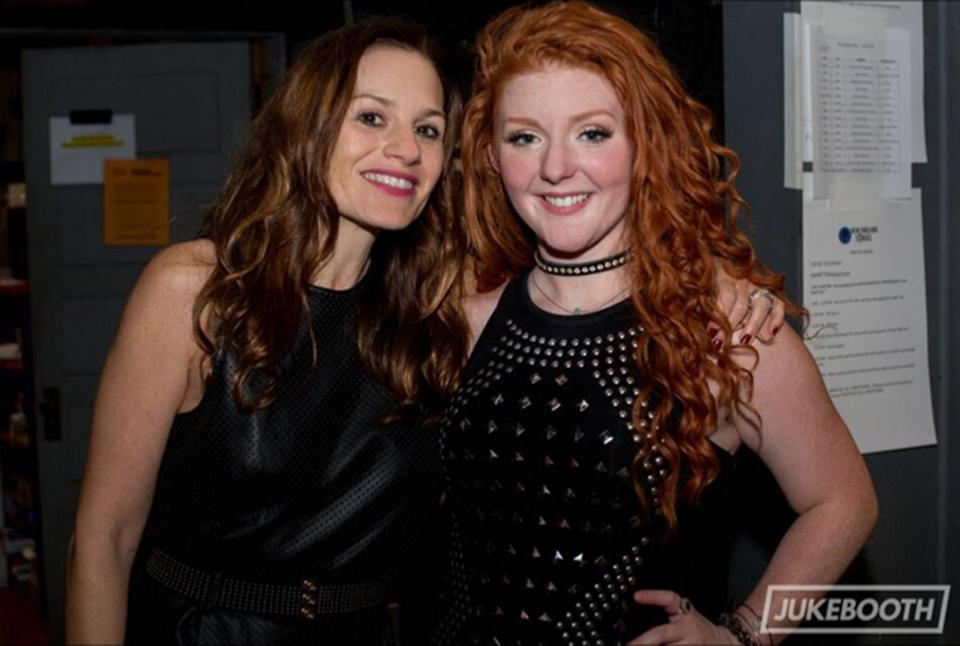 Kara DioGuardi (left) with Lexi James, winner of last year's New England Sings vocal competition.