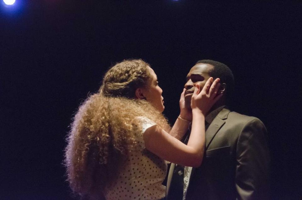 "Evelyn Howe and Omar Robinson in ""Lost Tempo"" at Boston Playwrights' Theatre."