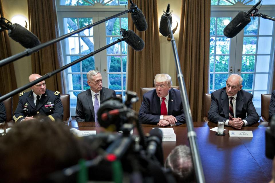 President Donald Trump spoke as John Kelly, White House chief of staff, H.R. McMaster, national security advisor and Jim Mattis, U.S. secretary of defense listened during a briefing with senior military leaders in the Cabinet Room of the White House.