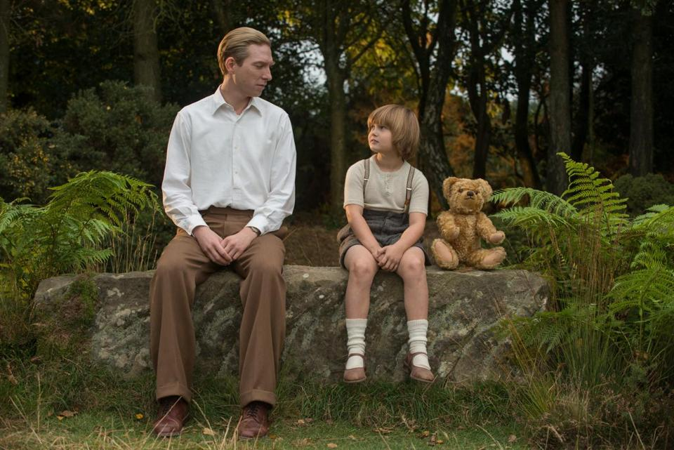 "Domhnall Gleeson (top left) and Will Tilston in a scene film ""Goodbye Christopher Robin,"" directed by Simon Curtis."