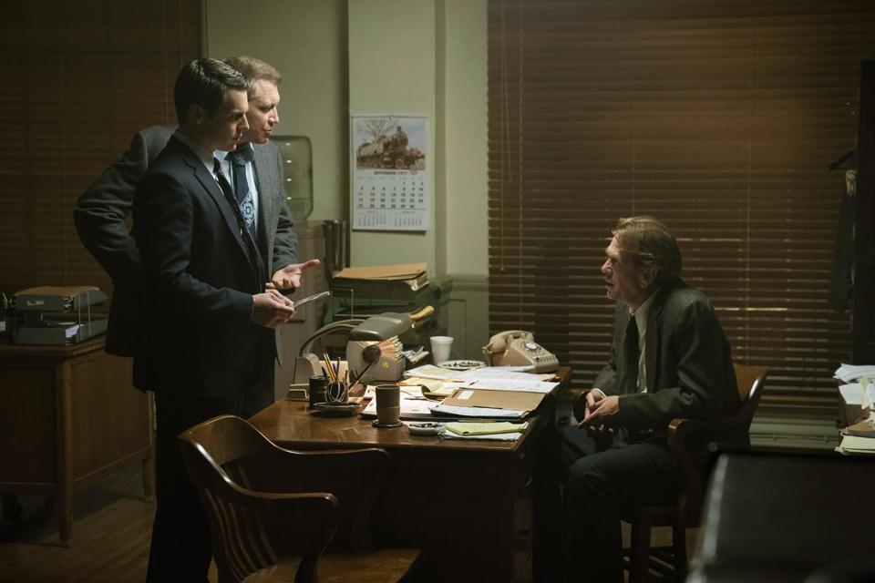 "Jonathan Groff and Holt McCallany (standing, from left) star in ""Mindhunter."""