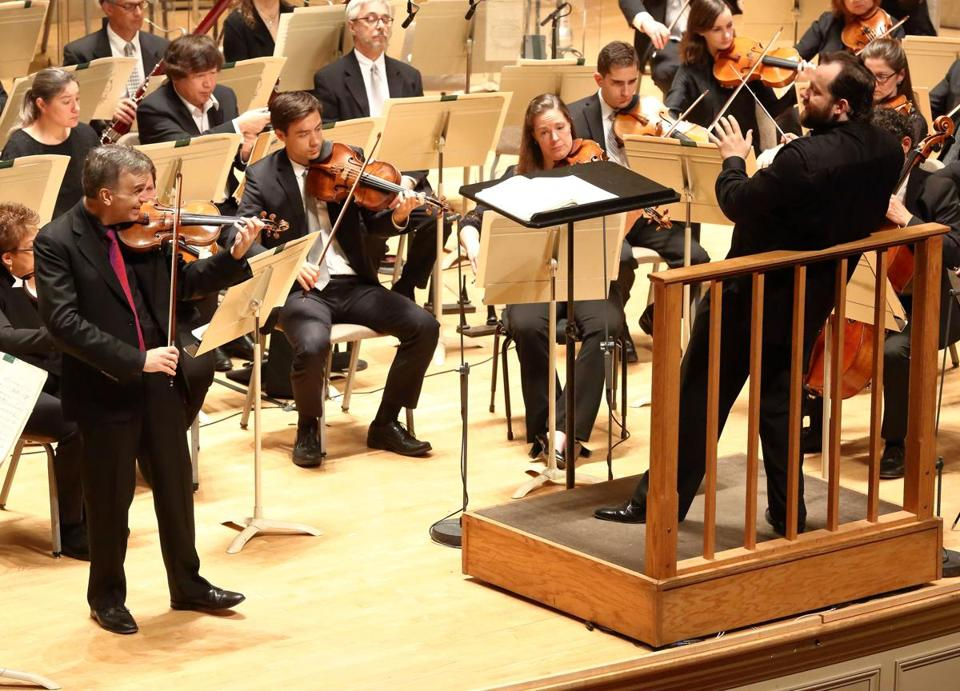 Violinist Gil Shaham (left) performed Tchaikovsky's Violin Concerto with Andris Nelsons and the Boston Symphony Orchestra.