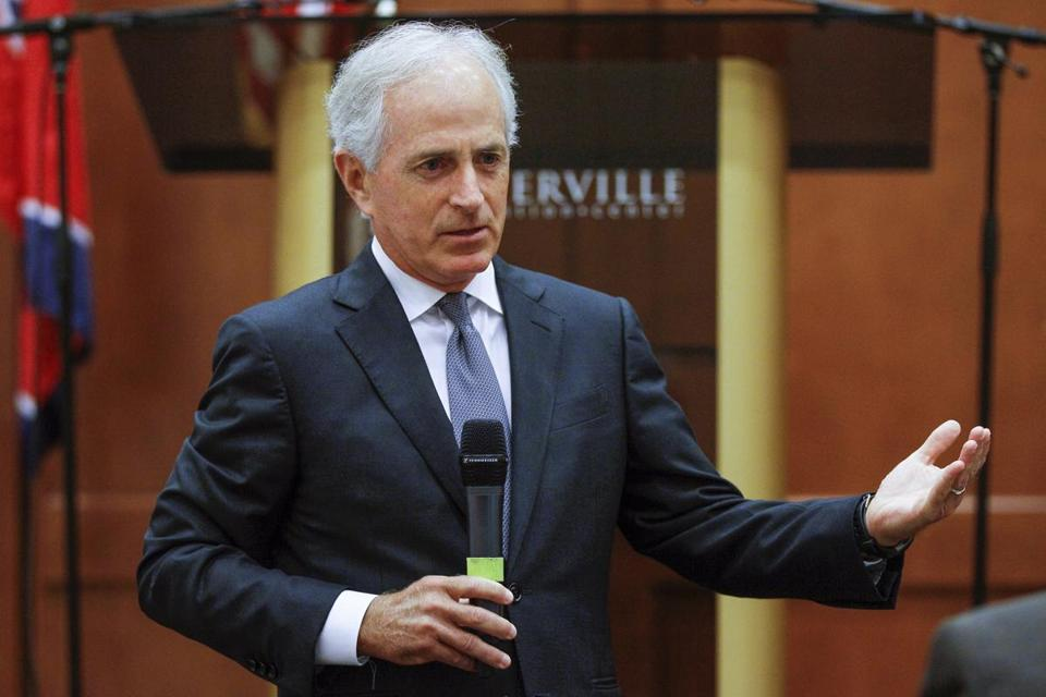 FILE - In this Aug. 16, 2017, file photo, Sen. Bob Corker, R-Tenn., speaks to the Sevier County Chamber of Commerce in Sevierville, Tenn. Always one to speak his mind, Corker's new free agent status should make President Donald Trump and the GOP very nervous. The two-term Tennessee Republican isn't seeking re-election. And that gives him even more elbow room to say what he wants and vote how he pleases over the next 15 months as Trump and the party's top leaders on Capitol Hill struggle to get their agenda on track (AP Photo/Erik Schelzig, File)