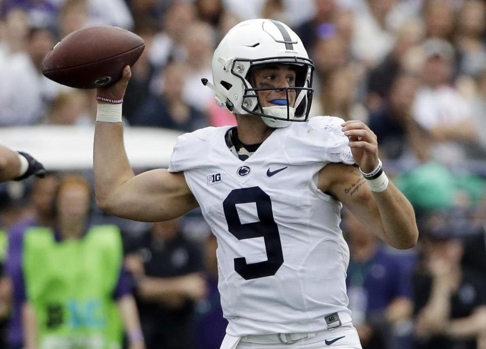 Penn State quarterback Trace McSorley looks to pass against Northwestern during the second half of an NCAA college football game in Evanston, Ill., Saturday, Oct. 7, 2017. Penn State won 31-7. (AP Photo/Nam Y. Huh)