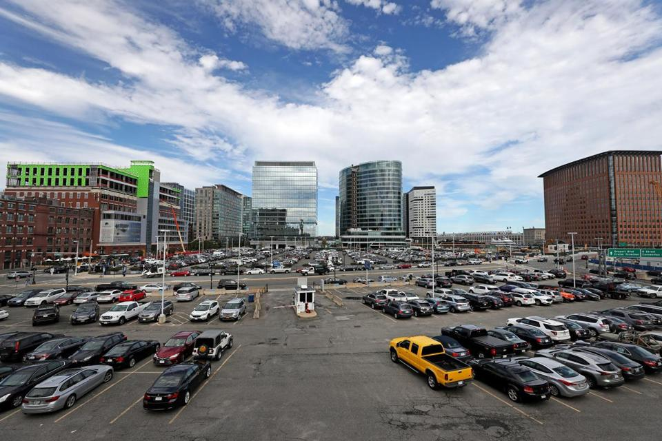 Lots in the Seaport District that are planned for redevelopment. The Seaport Performing Arts Center, part of the Seaport Square development, may be built where the parking lots exist now.