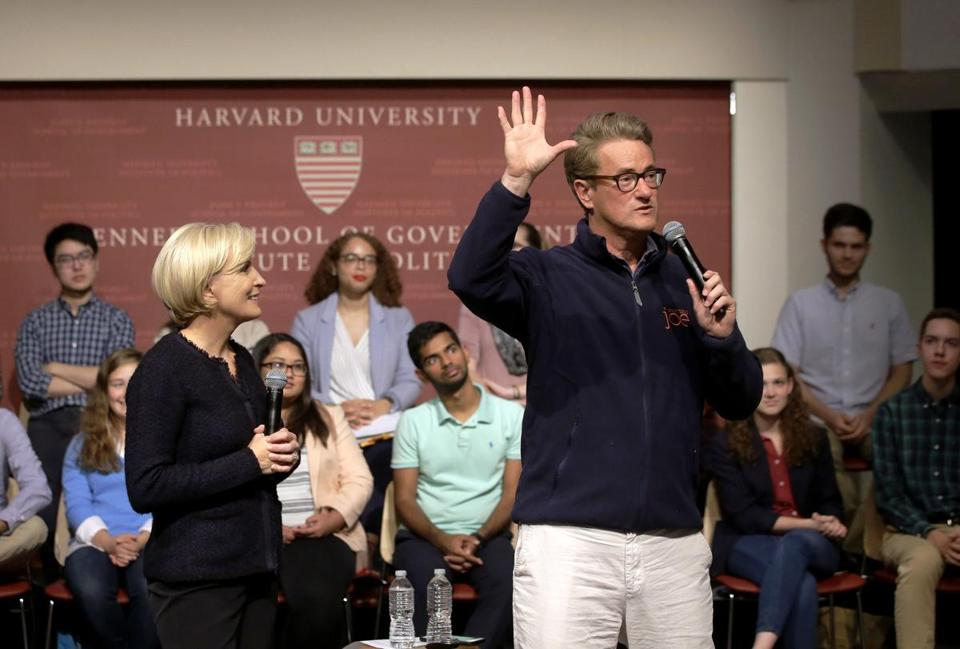 Mika Brzezinski and Joe Scarborough address questions from Harvard students Wednesday night at the Kennedy School.