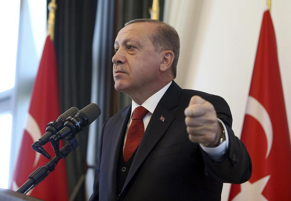 "Turkish President Recep Tayyip Erdogan addressed the country's governors at his palace in Ankara, Turkey, Thursday.  Erdogan lashed out against the United States for ""sacrificing ties"" by standing behind its ambassador in Turkey, whom he blames for a diplomatic spat that resulted in the two countries' mutually halting visa services for visitors."