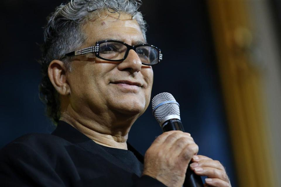 "Deepak Chopra, MD, speaks during the HUBweek event ""Healthy Brain; Enlightened Brain."""