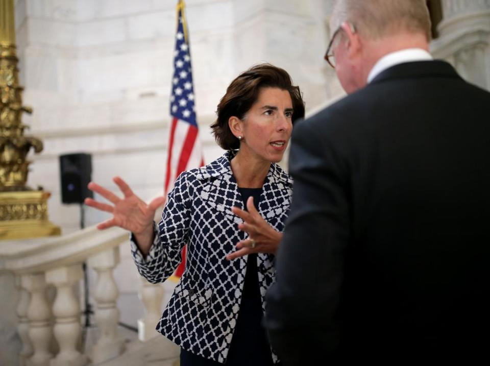 10/12/2017 Providence RI - The Governor of Rhode Island Gina M. Raimondo (cq) at the Rhode Island State House , after giving the oath of office , at a swearing in ceremony for Melissa A. Long (cq) not pictured ,as a Associate Justice of the Rhode Island Superior Court. Jonathan Wiggs\Globe Staff Reporter:Topic.