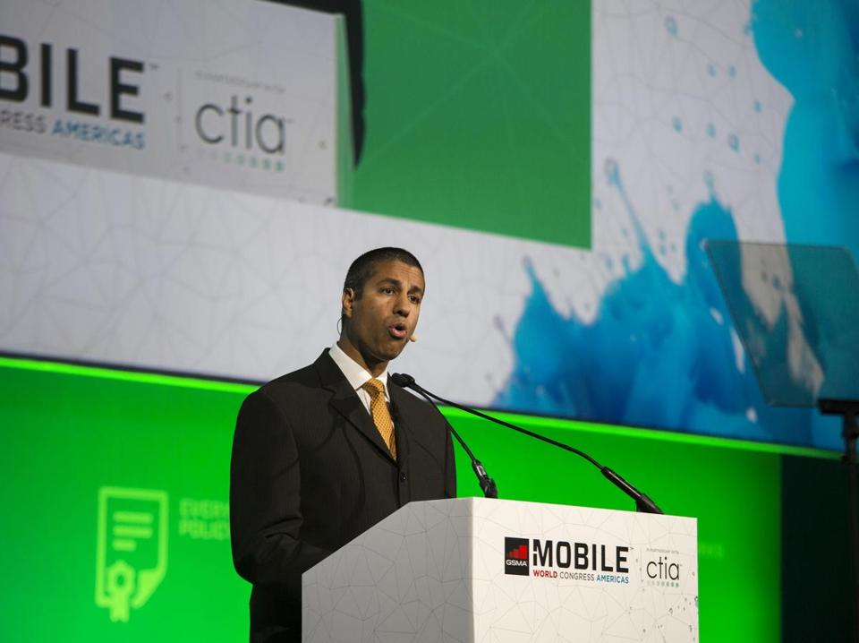 FCC Chairman Ajit Pai speaks during the Mobile World Conference Americas event in San Francisco on Sept. 12, 2017. MUST CREDIT: Bloomberg photo by Cayce Clifford.