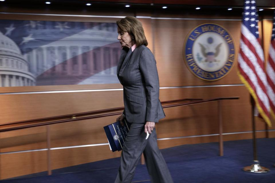 House Minority Leader Nancy Pelosi departed a news conference on Capitol Hill in Washington after responding to President Donald Trump's executive action that will halt payments to insurers under the Obama-era health care law on Friday.