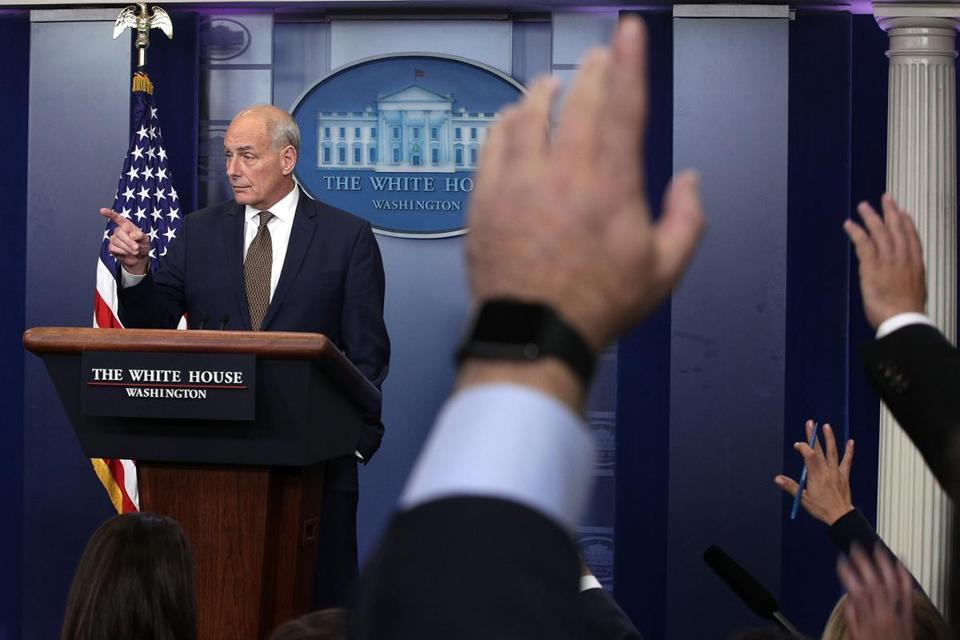 WASHINGTON, DC - OCTOBER 12: White House Chief of Staff John Kelly takes questions during a daily news briefing at the James Brady Press Briefing Room of the White House October 12, 2017 in Washington, DC. In a rare appearance at the news briefing Kelly stated he had no plans to resign or reason to believe he would be fired. (Photo by Alex Wong/Getty Images)
