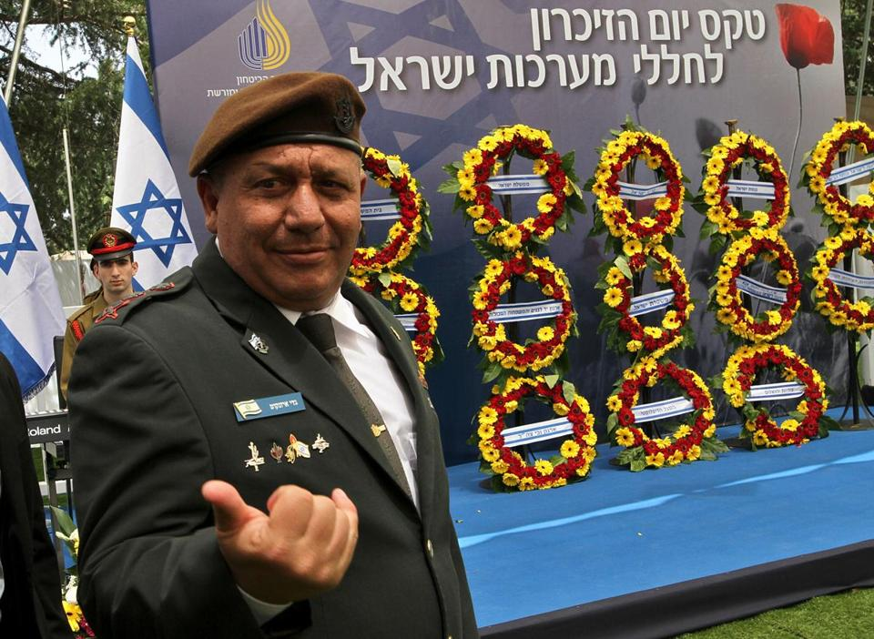 Israeli Chief of Staff Gadi Eizenkot attends a ceremony at the Mount Herzel military cemetery in Jerusalem as they mark Remembrance Day, commemorating fallen soldiers in the country's conflicts, on May 1, 2017. Israel is marking Remembrance (or Memorial) Day to commemorate 23544 fallen soldiers and 3117 civilians killed during hostile attacks since 1948, just before the celebrations for the 69th anniversary of its creation according to the Jewish calendar. / AFP PHOTO / äàøõ / GIL COHEN-MAGEN (Photo credit should read GIL COHEN-MAGEN/AFP/Getty Images)