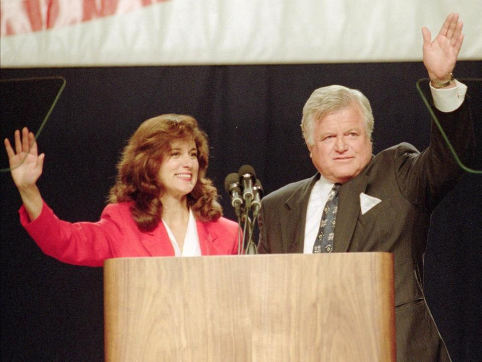 Vicki Kennedy and Ted Kennedy greeted the crowd at the Democratic State Convention in Worcester in 1994.
