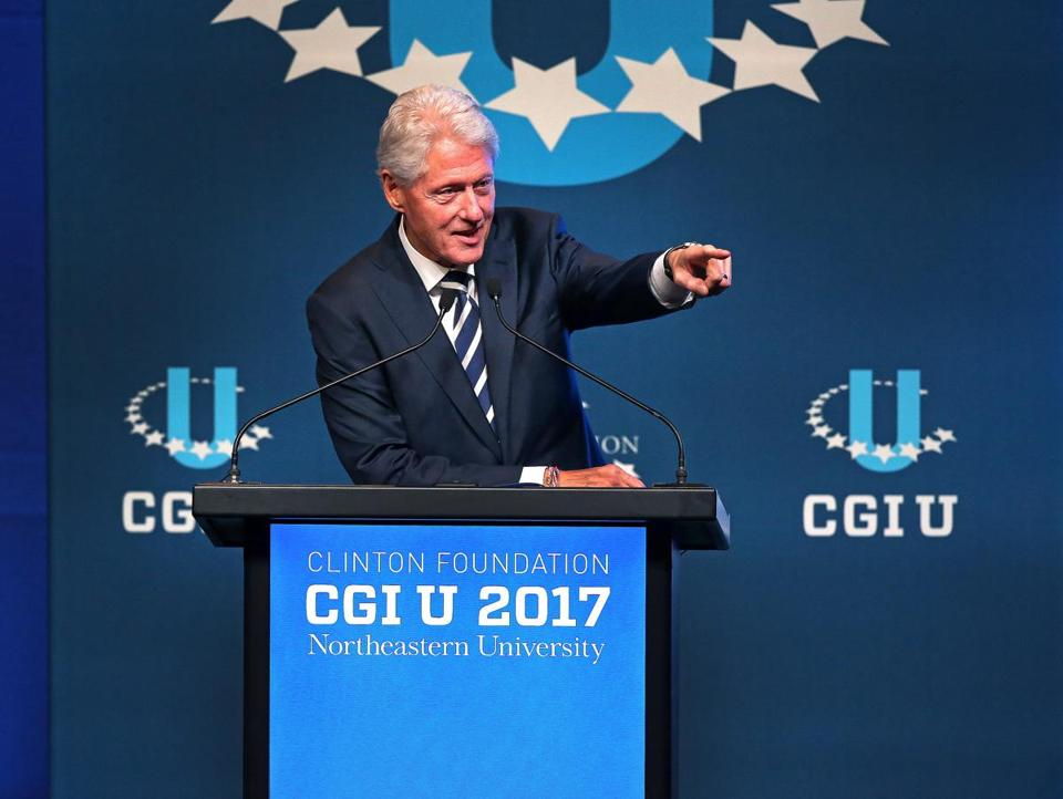 Former president Bill Clinton addressed the audience at the opening session of a Clinton Global Initiative event held at Northeastern University.