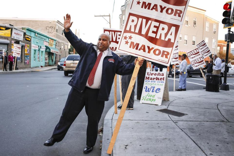 Lawrence Mayor Dan Rivera campaigned in the city earlier this month.