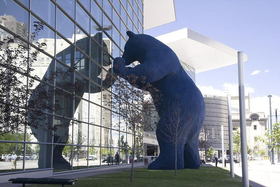 "In Denver, Mr. Argent's bear sculpture, titled ""I See What You Mean,"" stands against the Colorado Convention Center."