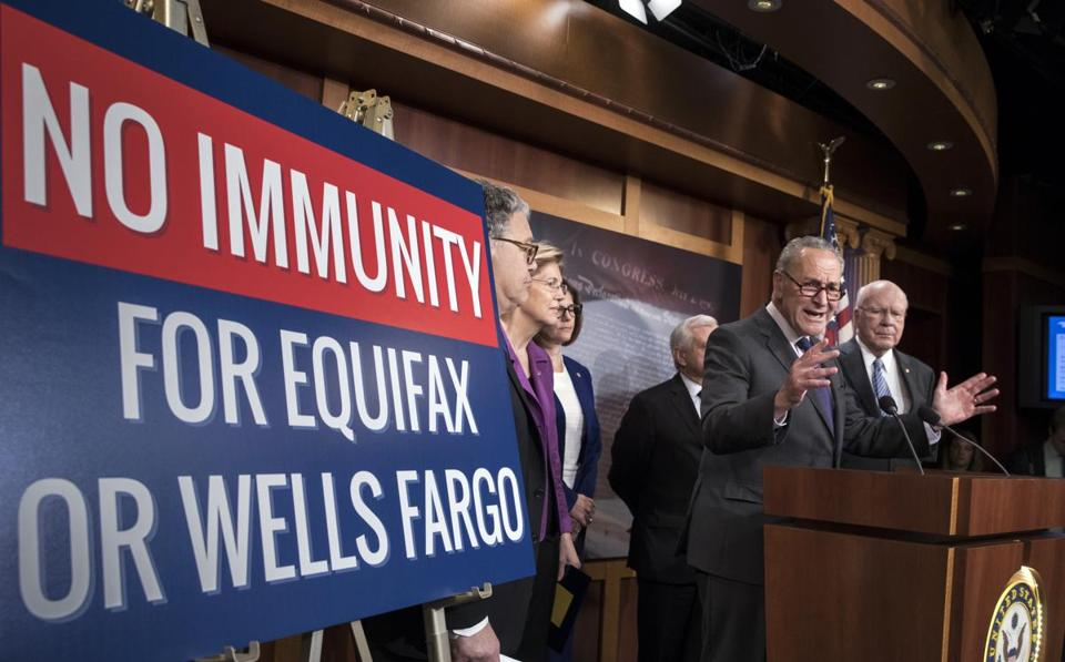 Senate Democrats discussed consumer protections in the wake of a massive data breach at Equifax and a scandal at Wells Fargo.