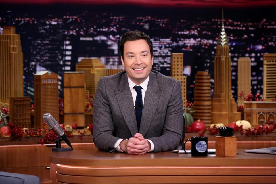 "Jimmy Fallon on the set of ""The Tonight Show."""