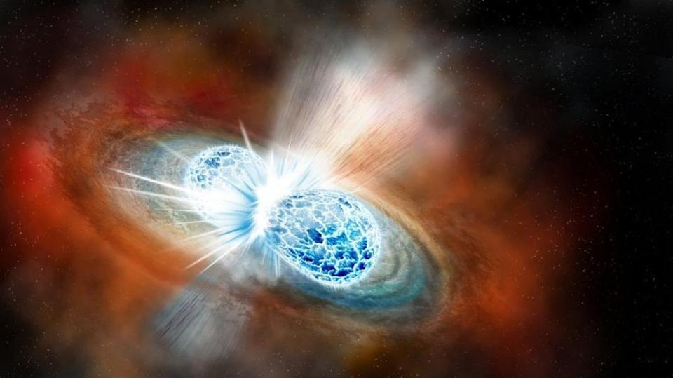An artist's conception of a merger of two neutron stars.