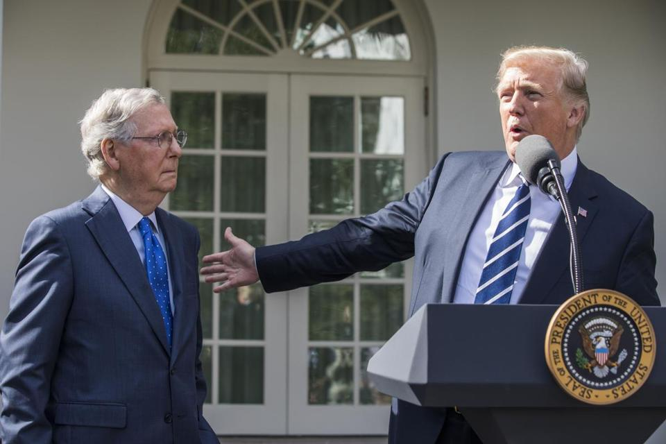 Mandatory Credit: Photo by JIM LO SCALZO/EPA-EFE/REX/Shutterstock (9139350ab) Donald J. Trump and Mitch McConnell Trump and McConnell Speak to Media at White House, Washington, USA - 16 Oct 2017 US President Donald J. Trump (R) and Senate Majority Leader Mitch McConnell (L) speak to the media after meeting for lunch at the White House in Washington, DC, USA, 16 October 2017. President Trump answered questions about Puerto Rico, North Korea, health care, and Hillary Clinton.
