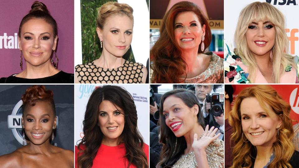 "The ""Me too"" movement apparently gained momentum after Alyssa Milano (top left) sent a call to action on Twitter. Those who responded included Anna Paquin, Debra Messing, Lady Gaga, Anika Noni Rose, Monica Lewinsky, Rosario Dawson, and Lea Thompson."