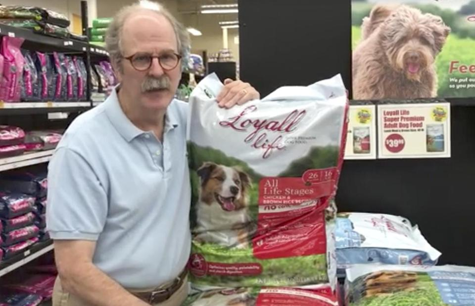 Dave Ratner of Dave's Soda and Pet City on his store's Facebook page promoting dog food. Rather appeared with Trump when he signed an executive order on health care and it has hurt his business.