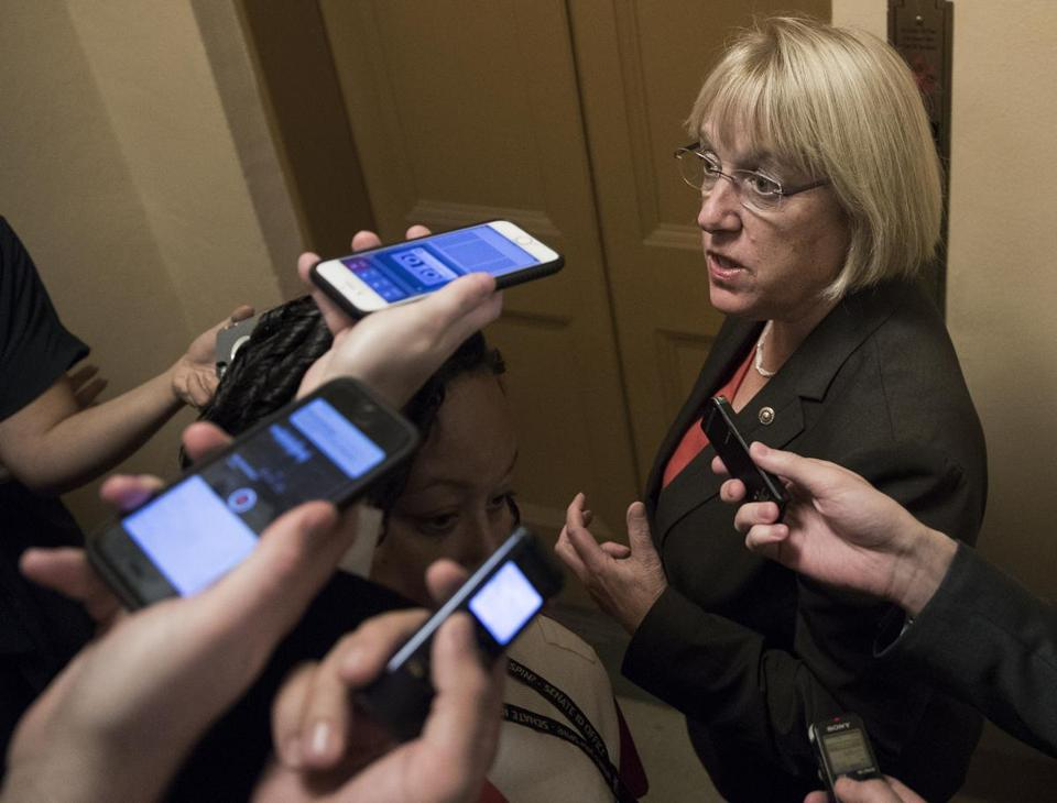 Sen. Patty Murray, D-Wash., the ranking member of the Senate Health, Education, Labor, and Pensions Committee, talks to reporters on Capitol Hill on Oct. 18.