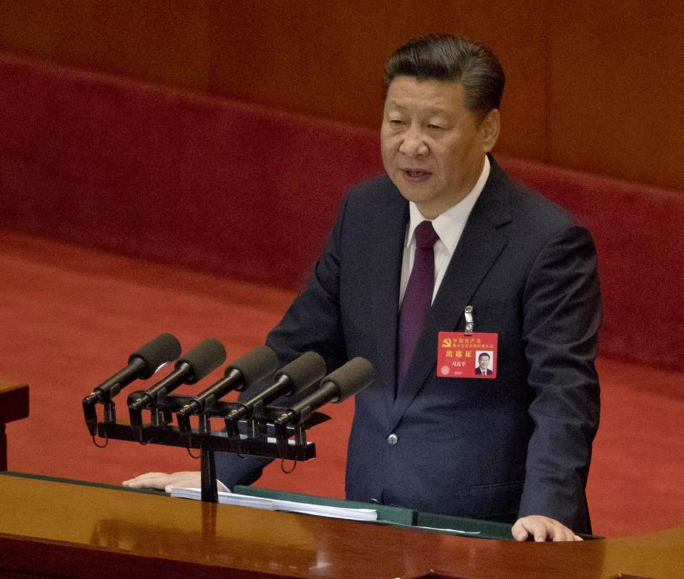 Chinese President Xi Jinping spoke Tuesday at the opening of the Communist Party congress in Beijing.