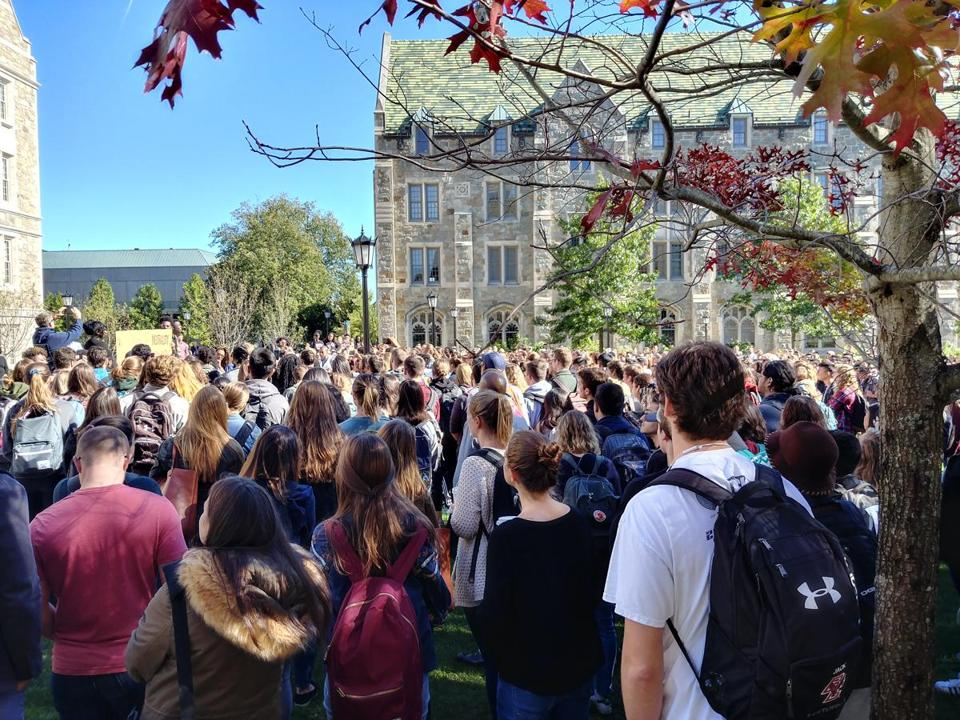 19bcwalkout - A rally at Boston College in response to a perceived lack of action by the College to combat on-campus racist activities. (Emily Sweeney/Boston Globe)