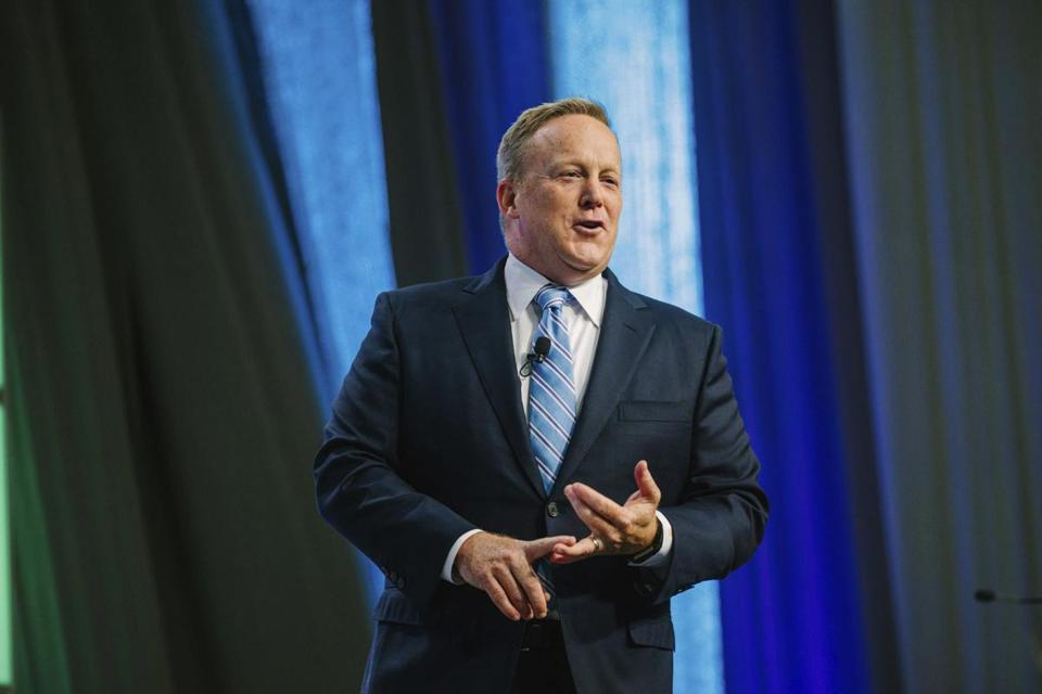 Former White House spokesman Sean Spicer speaks to attendees at Shale Insight 2017, at Pittsburgh's David L. Lawrence Convention Center, Thursday, Sept. 28, 2017. (Andrew Rush/Pittsburgh Post-Gazette via AP)