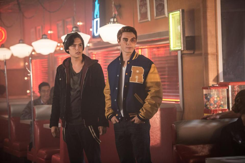 "From left: Cole Sprouse and K.J. Apa in a scene from the CW's ""Riverdale."""
