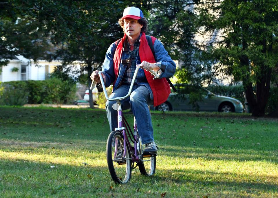 "Ethan Gilsdorf rode a banana seat bike during his sojourn in the ""Stranger Things"" universe."