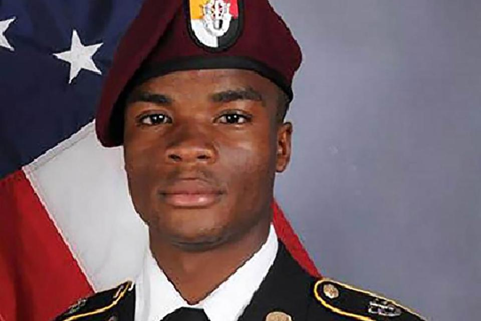 "Undated official army photo released by the US Department of Defense shows Sgt. La David T. Johnson, 25, of Miami Gardens, Florida, who was killed on October 4, 2017 in southwest Niger. Johnson was among four US soldiers killed earlier this month in Niger, where Islamic State fighters have established a presence. US President Donald Trump told the widow of a soldier killed during an ambush in Niger ""he knew what he was signing up for,"" according to a lawmaker who accused him of insensitivity. Frederica Wilson, a Democratic congresswoman from Florida, said she listened in to part of a group phone call between the president and the grieving family of Sergeant La David Johnson. / AFP PHOTO / US Department of Defense / - / RESTRICTED TO EDITORIAL USE - MANDATORY CREDIT ""AFP PHOTO / US Department of Defense "" - NO MARKETING - NO ADVERTISING CAMPAIGNS - DISTRIBUTED AS A SERVICE TO CLIENTS -/AFP/Getty Images"