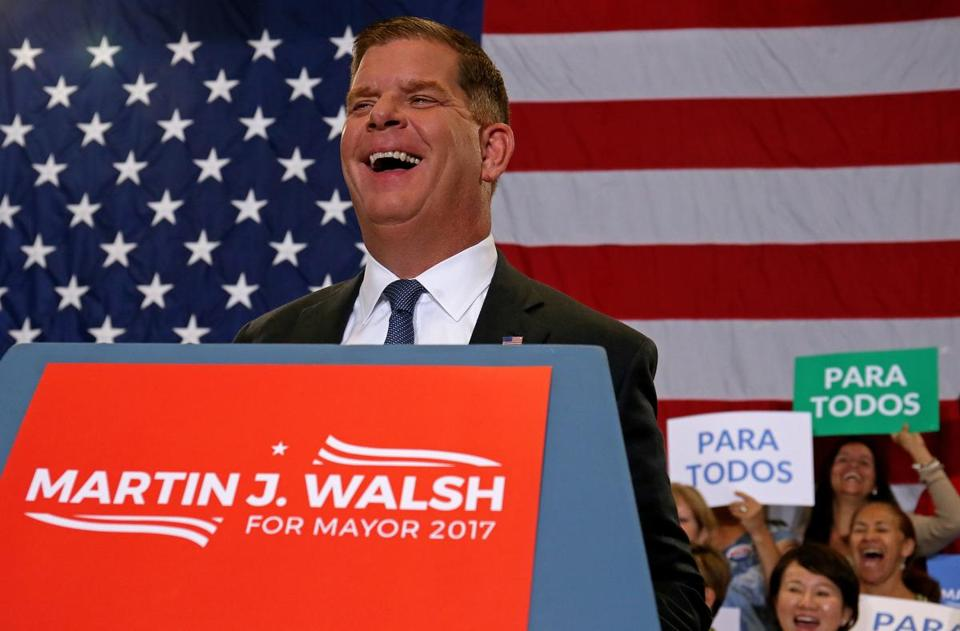 Mayor Marty Walsh and supporters celebrated on preliminary election night.