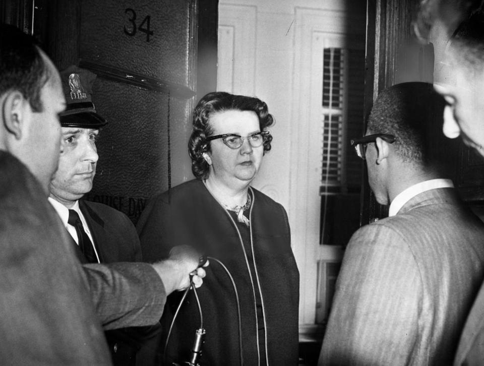NAACP executive secretary Thomas Atkins (right) asked to be admitted to Louise Day Hicks's office in Boston on Sept. 6, 1963. Eight demonstrators held a sit-in in the offices that began on Sept. 5 and lasted into the night, including Atkins staying in Hicks's office.