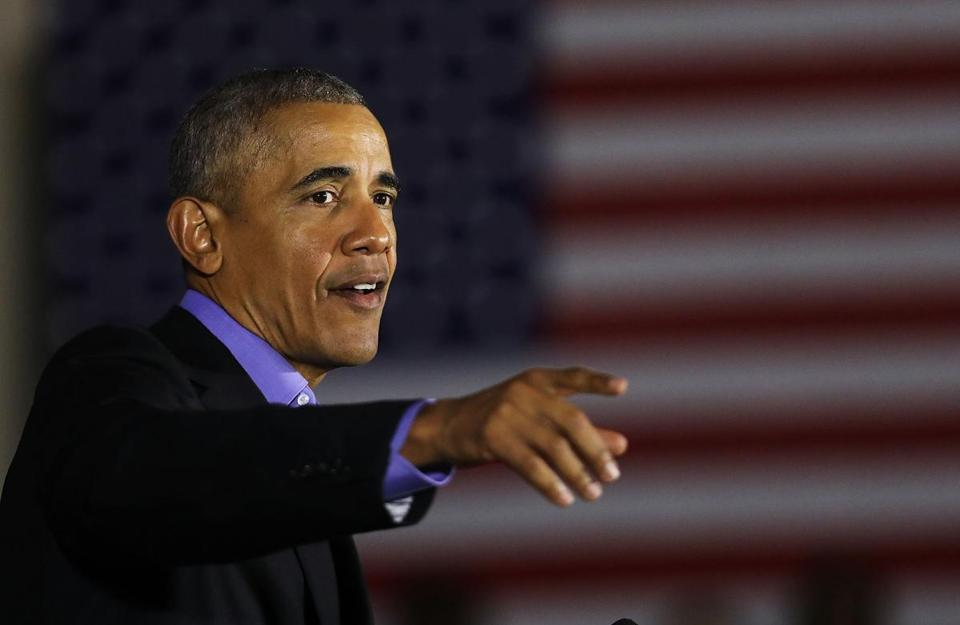 NEWARK, NJ - OCTOBER 19: Former U.S. President Barack Obama speaks at a rally in support of Democratic candidate Phil Murphy, who is running against Republican Lt. Gov. Kim Guadagno for the governor of New Jersey, on October 19, 2017 in Newark, New Jersey. In Obama's first return to the campaign trail, the former president is stumping for Democratic gubernatorial candidates in New Jersey and Virginia as they prepare for next month's elections. (Photo by Spencer Platt/Getty Images)