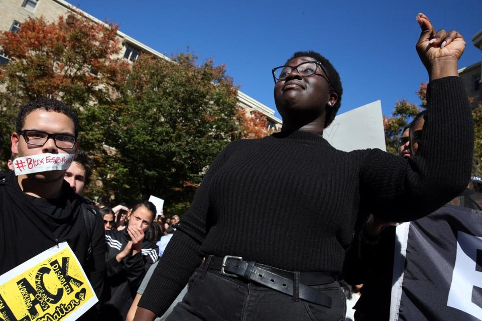 Akosua Opokua-Achampong, president of the Undergraduate Government of Boston College, led a march and rally on campus in October. The event was held to protest racism after a Black Lives Matter sign was defaced on campus.