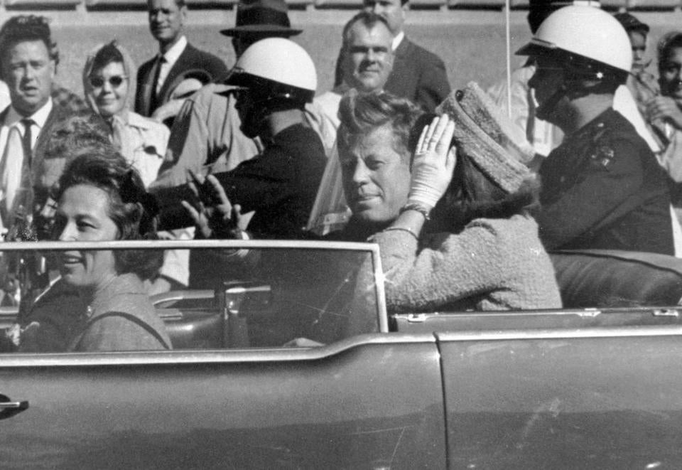 President Kennedy in Dallas on Nov. 22, 1963. First Lady Jacqueline Kennedy is beside him.