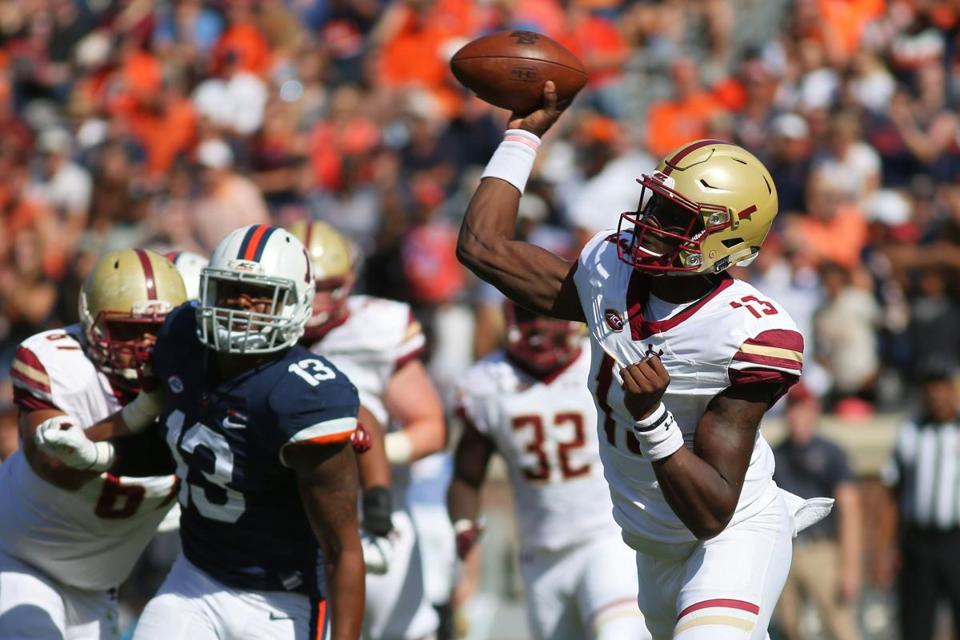 CHARLOTTESVILLE, VA - October 21: Anthony Brown #13 of the Boston College Eagles throws a pass during a game against the Virginia Cavaliers at Scott Stadium on October 21, 2017 in Charlottesville, Virginia. (Photo by Ryan M. Kelly/Getty Images)